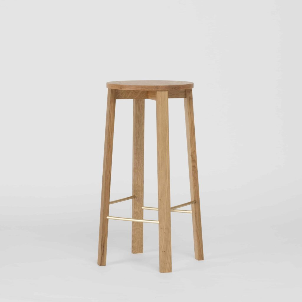 modern solid oak bar stool with brass foot rests
