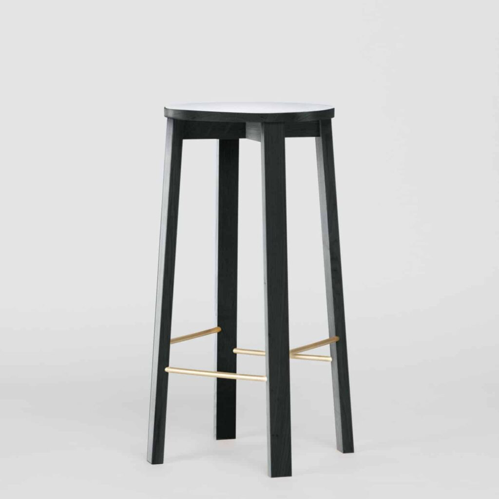 dark green solid wood barstool