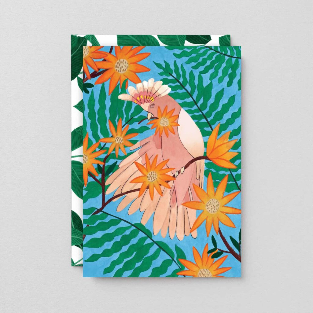 Tropical bird card by wrap