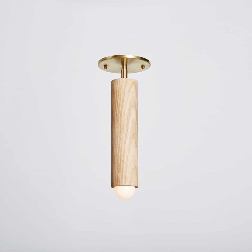 Lodge Flush Mount | Bone Oak and Hewn Brass | Lighting | Workstead