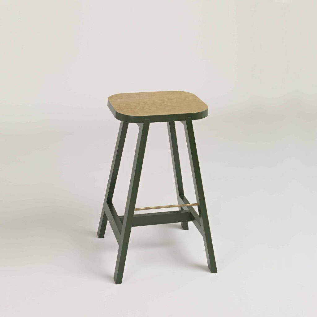 Bar stool three in green lacquered oak