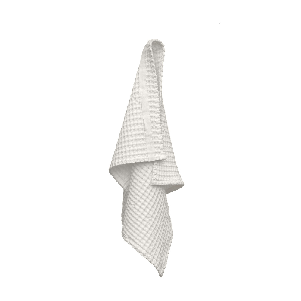 Waffle hand towel in eco friendly organic cotton - soft & absorbent. Ideal for kitchen & bathroom. 75 x 50cm. Choose Natural White or Stone (seen here in white).