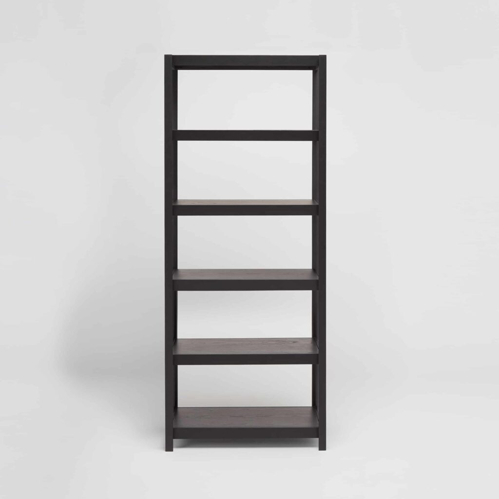 tall black wooden shelving unit