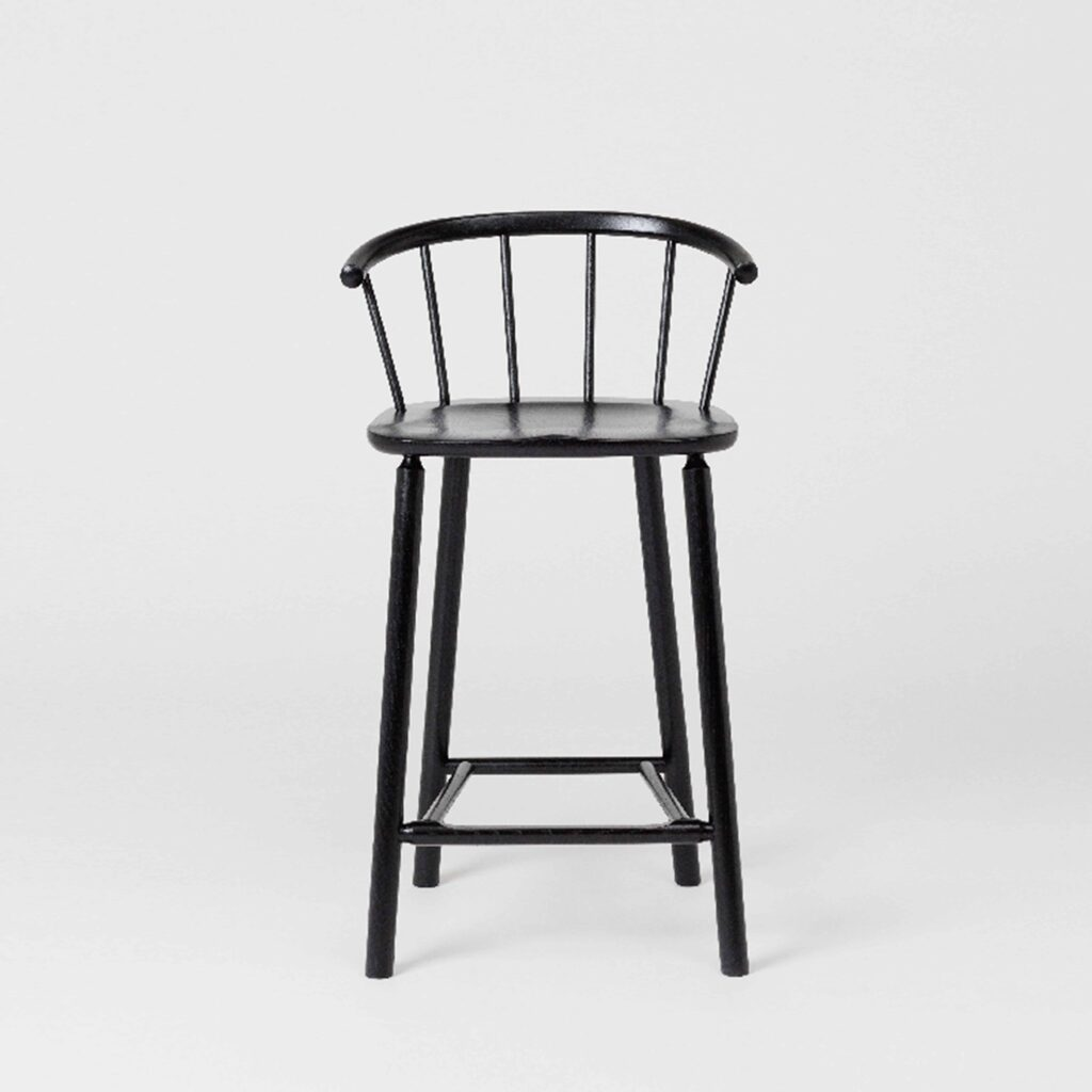 black lacquer barstool with back by another country
