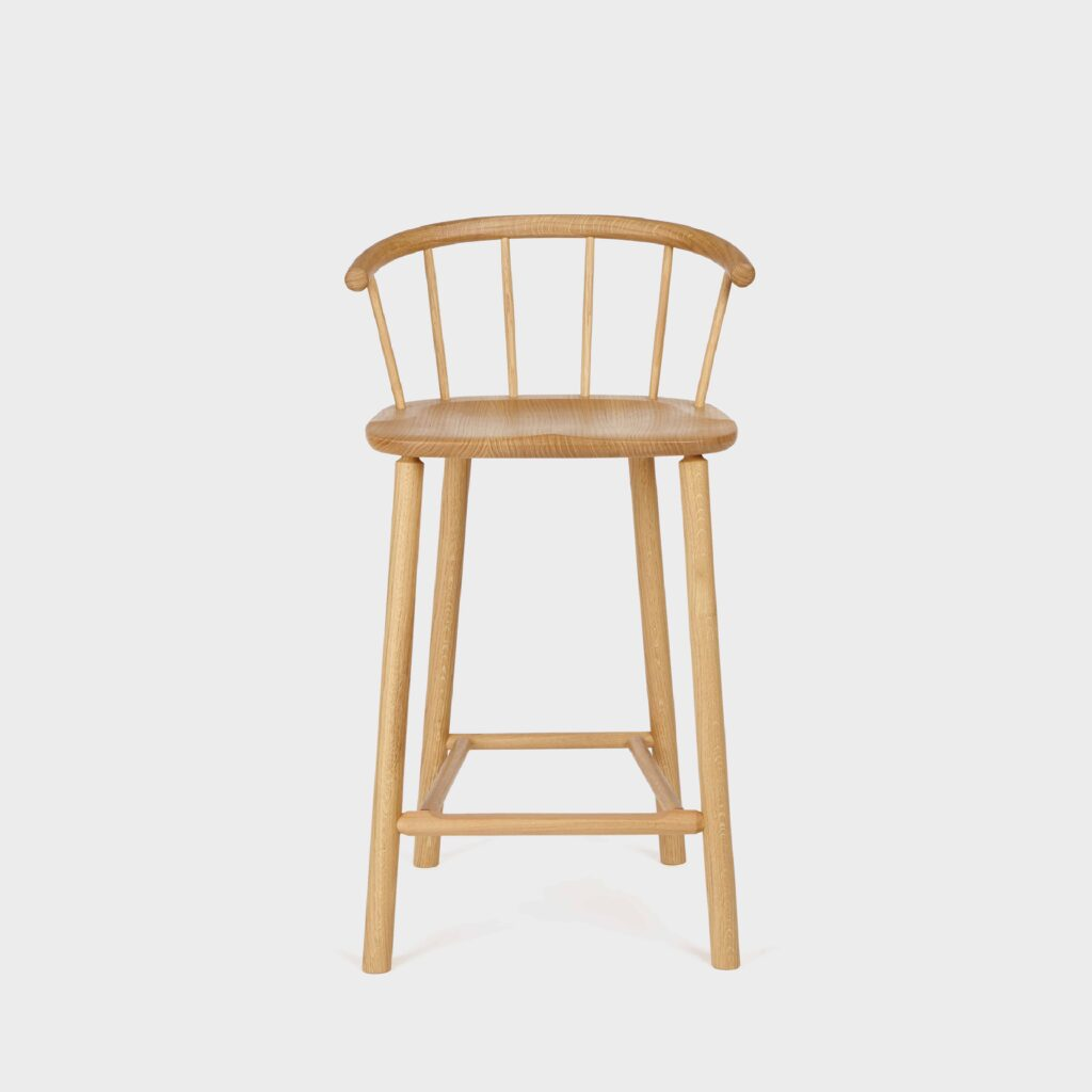 oak barstool with back by another country